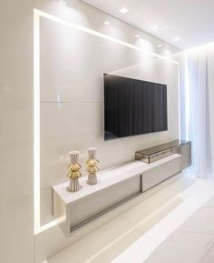 Super clean double bedroom with lighted tv cabinet, lacquer and bronze mirror . Living Room Tv Unit Designs, Best Living Room Design, Home Room Design, Interior Design Living Room, Modern Tv Wall Units, Modern Wall, Tv Wall Decor, Wall Tv, Cozy Living Rooms