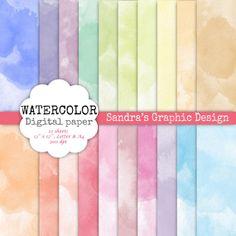 Waterverf digital paper WATERVERF met door SandraGraphicDesign, €2.00