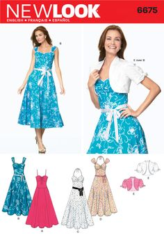 New Look 6675 (Planned - the blue style will be made from the retro grey geometric flower fabric, I would also like to use the bolero pattern from this.)