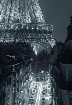 Nighttime in Paris.