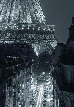 Nighttime in Paris.