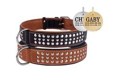 Studded Leather Personalized Dog Collar Brown Black Puppy Small Medium Large XLarge Soft Padded Optional ID Tag  Please note that ID tag is optional. If youd like to order this collar with an ID tag choose correct option while choosing a size from drop down menu. We cut this tags out of stainless steel and brass and laser engrave them. Please enter your dogs name, phone number and ID tag type at check out.  Handmade studded dog collars. Made out of very soft genuine leather. They are…