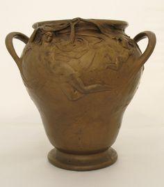 C.1900 Art Nouveau Antique French Bronze Vase By Henri Honore Plé (1853-1922)