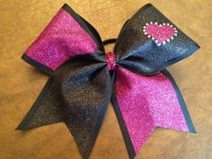 3 Cheer Bow  Black and Pink Glitter with by FullBidBows on Etsy