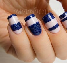 We have some amazing blue nail art designs and in this article we will talk about all the different things you can do to have blue nail designs. Nail Art Stripes, Striped Nails, Blue Nails, White Nails, Aztec Nails, Chevron Nails, Striped Nail Designs, Nail Art Designs, Nails Design