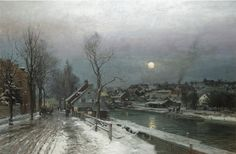 Anders Andersen-Lundby, A Busy Town in Moonlight, 1882, private collection, oil on canvas, 115 x 175 cm