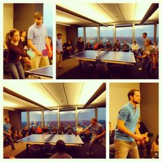 The championship matches of Pardot's annual ping-pong tournament!