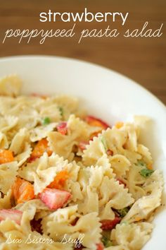 Strawberry Poppyseed Pasta Salad Recipe - perfect for a spring or summer side dish | SixSistersStuff.com