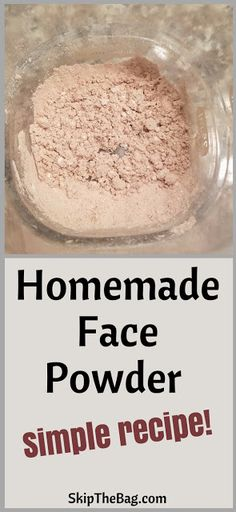 Homemade Face Powder. Simplest recipe in the world and it works! Just mix two powders together and it is fully customizable for skin color and all natural, zero waste diy face powder.