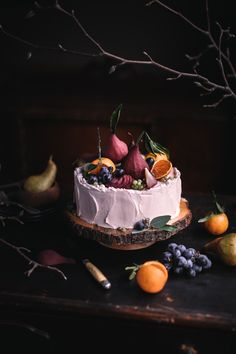 Mulled Wine Chocolate Cake with Mulled Wine Swiss Meringue Buttercream and Poached Pears