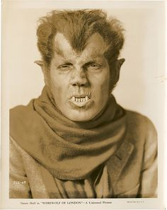 Fact The makeup used on Lon Chaney Jr.'s Wolf Man was originally created by Jack Pierce for Henry Hull in Werewolf of London However, Hull did not want to wear this makeup because it was too time consuming, so Pierce created a less hairy. Monster Horror Movies, Classic Monster Movies, Classic Horror Movies, Classic Monsters, Horror Films, Horror Art, Horror Icons, Gothic Horror, Cool Monsters