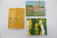 Resultaat van een cursist workshop Gelliplate en 3 x cahier binding in Atelier Velijn