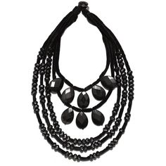 Tory Burch Beaded  Velvet Statement Necklace ($398) ❤ liked on Polyvore featuring jewelry, necklaces, black, tory burch necklace, statement necklace, velvet jewelry, strand necklace and beading necklaces