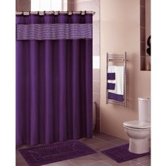 Amazon.com: Purple FLORAL RIBBON 18-Piece Bathroom Set: 2-Rugs/Mats, 1-Fabric Shower Curtain, 12-Fabric Covered Rings, 3-Pc. Decorative Towel Set: Home & Kitchen