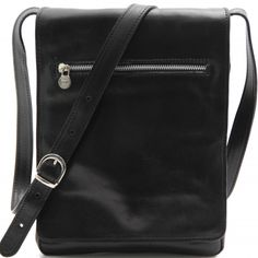 Schwarze Leder Schultertasche für Herren.Die Innenseite - Innenfutter ist aus Baumwolle. Das Innere der Tasche hat einen Kammer und 1 Kompartiment für Tablet. -