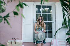 Gal Meets Glam Pink & Palm Print -Show Me Your Mumu dress, Mansur, Poolside tote, Illesteva sunglasses & Preston & Olivia hat