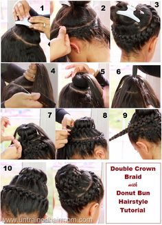 Double Crown Braid with Sock Bun #Hairstyle Tutorial #hair #beauty