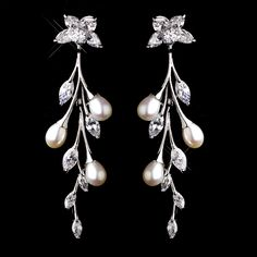 Stunning Pearl and CZ Bridal Earrings  - Affordable Elegance Bridal -