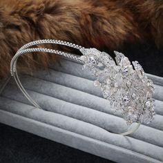 Crystal Bridal Headpiece Pearls Hair Alice Headband Wedding Accessories 1 Piece