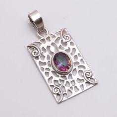 Natural Handmade Mystic Topaz Gemstone 925 Sterling Silver Filigree Pendant  #PI #Pendant
