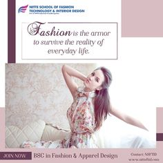Be a Fashion Designer of great INGENUITY! Join our B. Fashion & Apparel Design 2018 Batch Apply now and get a chance to win up to scholarship Interior Design Colleges, Interior Design Courses, Apparel Design, Your Design, Cool Style, Join, Fashion Outfits, School, Fashion Design