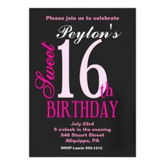 #Sweet 16 Birthday Invitations - #sweet16 #invitations #sixteen #birthday #sweetsixteen #party #bday #birthdayparty