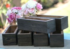 Wedding Planter Boxes Rustic Barn Wood Set Of 6 (item P10572)