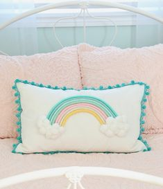 Top 10 Cheap Bedroom Decoration Ideas for Girls featured by top US DIY and interior Big Pillows, Cushions On Sofa, Rainbow Bedroom, Custom Cushions, Design Blog, Design Design, Little Girl Rooms, Diy For Girls, Pillow Design