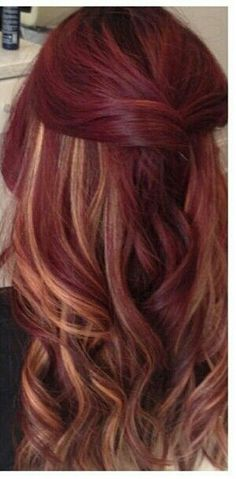 Velvet red and peekaboo highlights