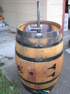 Turn a wine barrel into an outdoor sink