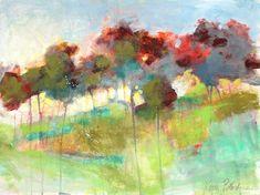 "Abstract Landscape Tree Painting Original Artwork on Paper ""Borderlands"" 18x24"""