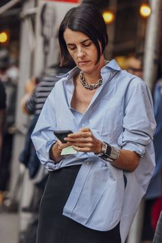 shirt blue street style fashion week 2017 spring