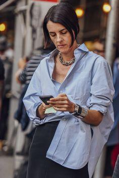 shirt blue street style fashion week 2017 spring
