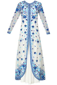 Ivory and blue floral embroidered anarkali and jacket set available only at Pernia's Pop Up Shop.