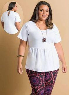 Resultado de imagen para moldes de blusas femininas plus size Peplum  Branco 02f9881bfa577