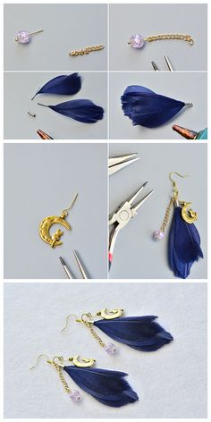 Various Earring Settings Findings, like earring hooks, earring backs, earring clip-ons etc. at Beebeecraft offer the possibility to design your own personalize earrings! Feather Jewelry, Bead Jewellery, Feather Earrings, Gemstone Earrings, Beaded Earrings, Beaded Jewelry, Jewellery Shops, Handmade Wire Jewelry, Handmade Bracelets