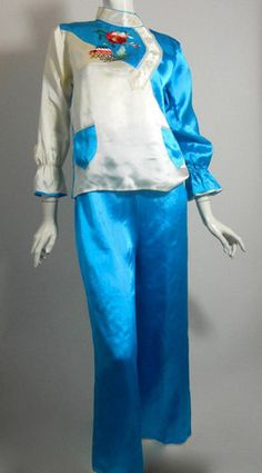 WWII Era Embroidered Satin Pajama Set circa 1940s - Dorothea's Closet Vintage