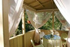 Use mosquito netting as curtains around my patio to keep out bugs, and to keep the cat on the porch. Curtain rods on top, and attach hooks to the bottom that catch on a line to keep them taught. Slide them to the corners when not in use.