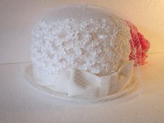 Ladies White Wedding Hat - vintage netting over crown with grosgrain ribbon gown small trim design small brim timelesspeony  $39.95