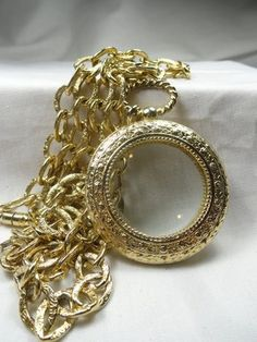Vintage 1928 Co Magnifying Glass Necklace Textured Chunky Chain Link Gold Color