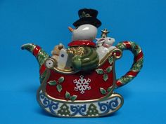 Fitz and Floyd Christmas Snowman Teapot 2005