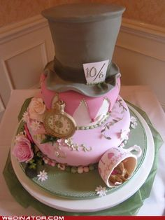 I had an Alice In Wonderland/English Garden PArty/Willy Wonka themed wedding - I wish my cake had looked like this!