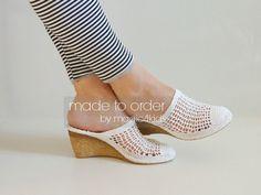 Crochet sandalias de cuña de las mujeres crochet sandalias