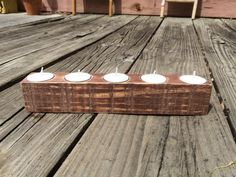 Reclaimed Pallet Wood Rustic Primitive Tea Light Candle Holder with 5 Holes Cabin Lodge Decor Country Prim Distressed Centerpiece Wedding