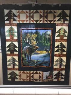 Love the trees! Fabric Panel Quilts, Lap Quilts, Mini Quilts, Craftsman Quilts, Moose Quilt, Wildlife Quilts, Attic Window Quilts, Medallion Quilt, Quilt Border