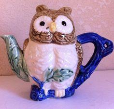 Antique Japan Ceramic Cobalt Blue Branch Handle Green Leaf Brown Owl TEAPOT 2 cp