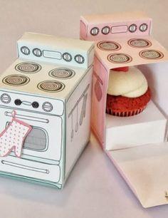 Faça uma caixinha em forma de forno retro  para oferecer um cupcake !      FREE PRINTABLE  AND TUTORIAL  via Made By Marzipan            ...
