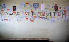 "The wall at Challenging Heights, a school and shelter for children rescued from trafficking in Ghana, reminds students, ""My hands are not for hitting."" https://www.globalfundforchildren.org/rescue-team/ #FTappeal #quote"