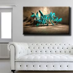 Large Size Box Framed Canvas Print Artwork Stretched Gallery Wrapped Wall Art Like Painting Hanging Original Decorative Modern Home & Living Decor Inscription Lettering Title Graffiti Wall Turquoise Framed Canvas Prints, Artwork Prints, Canvas Frame, Poster Prints, Graffiti Wall, Box Frames, Home And Living, Turquoise, Lettering