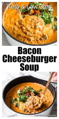 This bacon cheeseburger soup recipe makes for a comforting low carb high fat meal. A creamy, tasty one pot, no fuss Keto soup that's ready in 30 minutes. #cheeseburgersoup #ketosoup